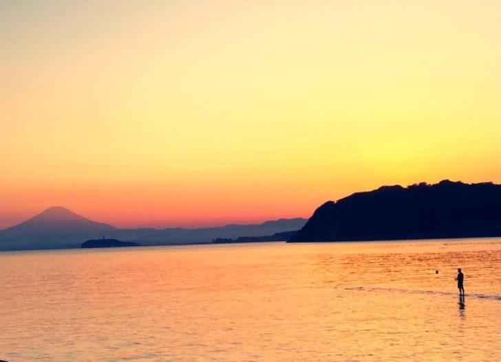 夕暮れ 赤富士