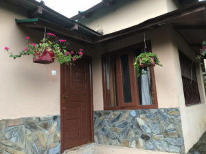 ログハウス 花 玄関