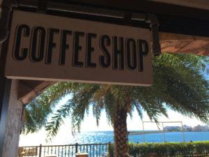 看板、コーヒーショップ、南国
